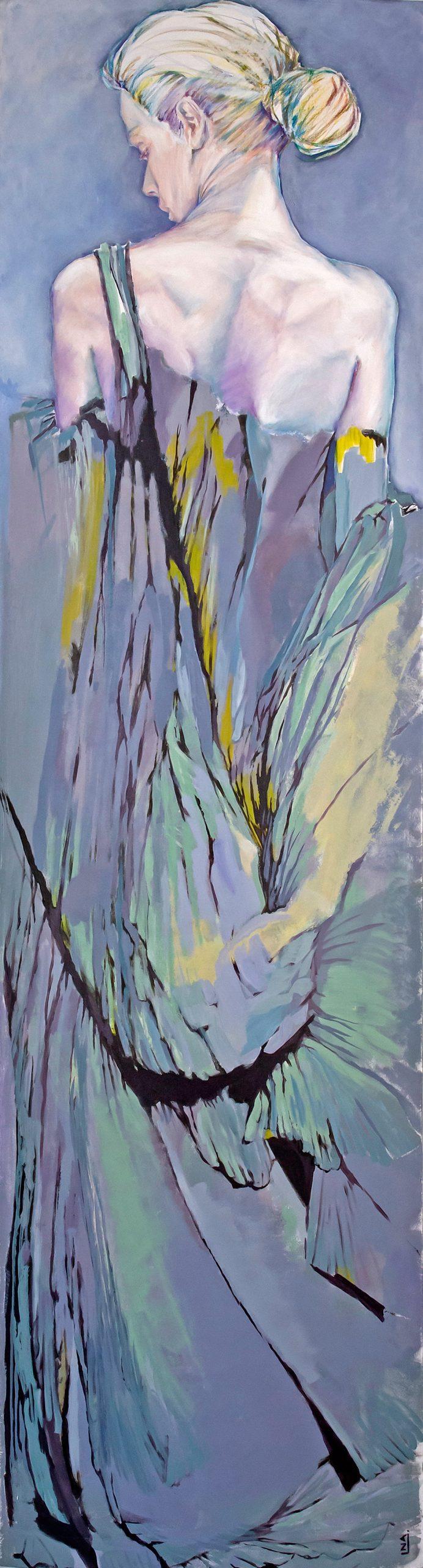 Nanou Autin, Peinture, Cassandre, Acrylique, pastels, crayon sur toile marouflée, support bois cintré (piétement tubulaire acier ou platine accroche murale), 60×220 cm – 2016