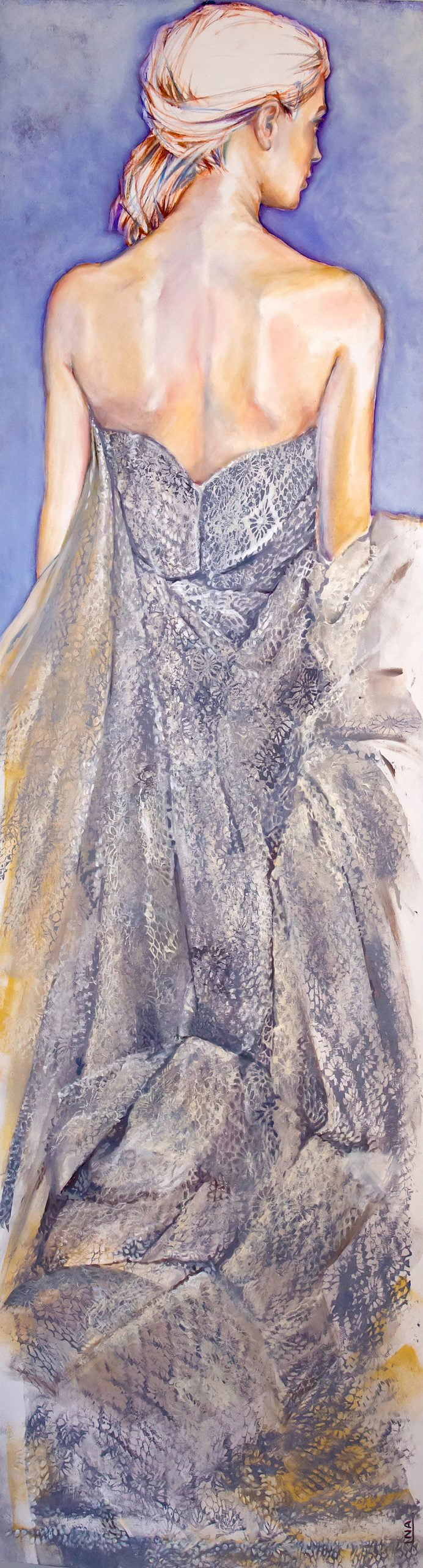 Nanou Autin, Peinture, Suzanne, Acrylique, pastels, crayon sur toile marouflée, support bois cintré (piétement tubulaire acier ou platine accroche murale), 60×220 cm – 2016
