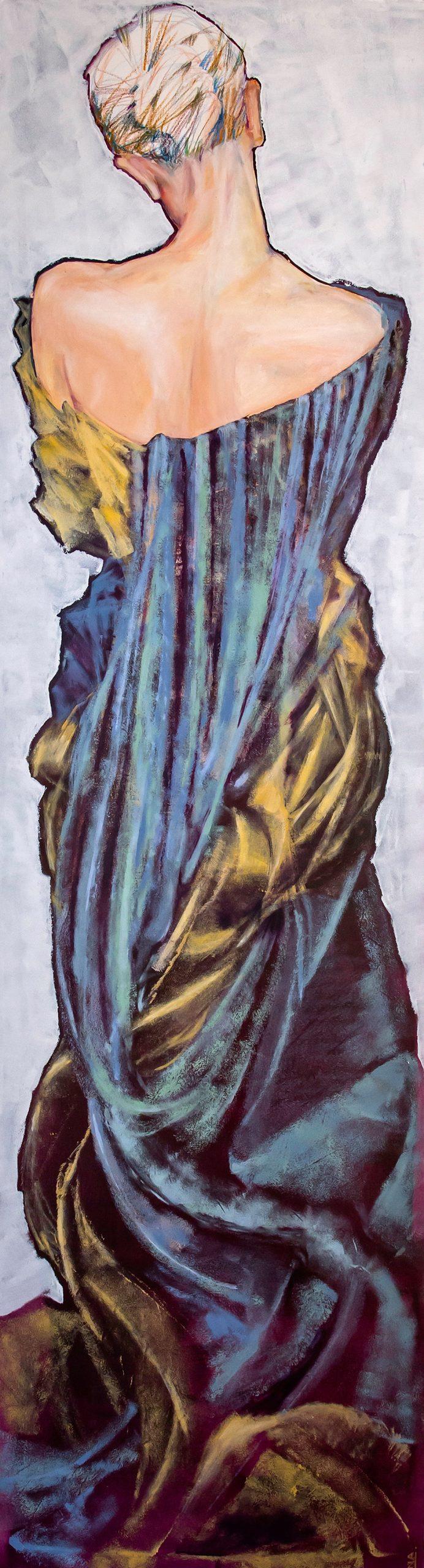 Nanou Autin, Peinture, Norma, Acrylique, pastels, crayon sur toile marouflée, support bois cintré (piétement tubulaire acier ou platine accroche murale), 60×220 cm – 2016