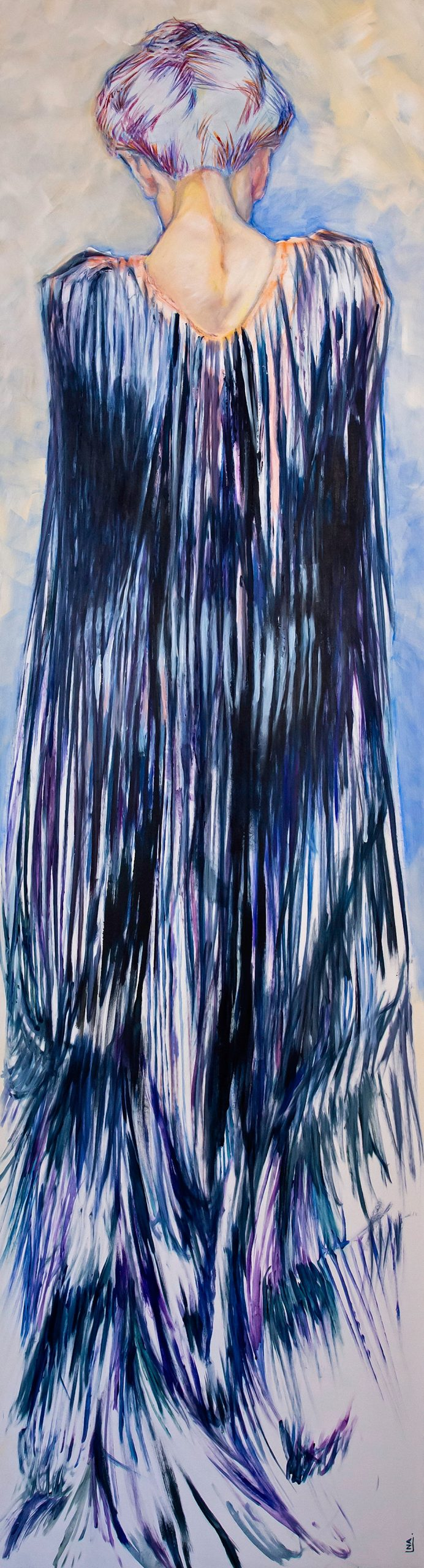 Nanou Autin, Peinture, Madame Butterfly, Acrylique, pastels, crayon sur toile marouflée, support bois cintré (piétement tubulaire acier ou platine accroche murale), 60×220 cm – 2016