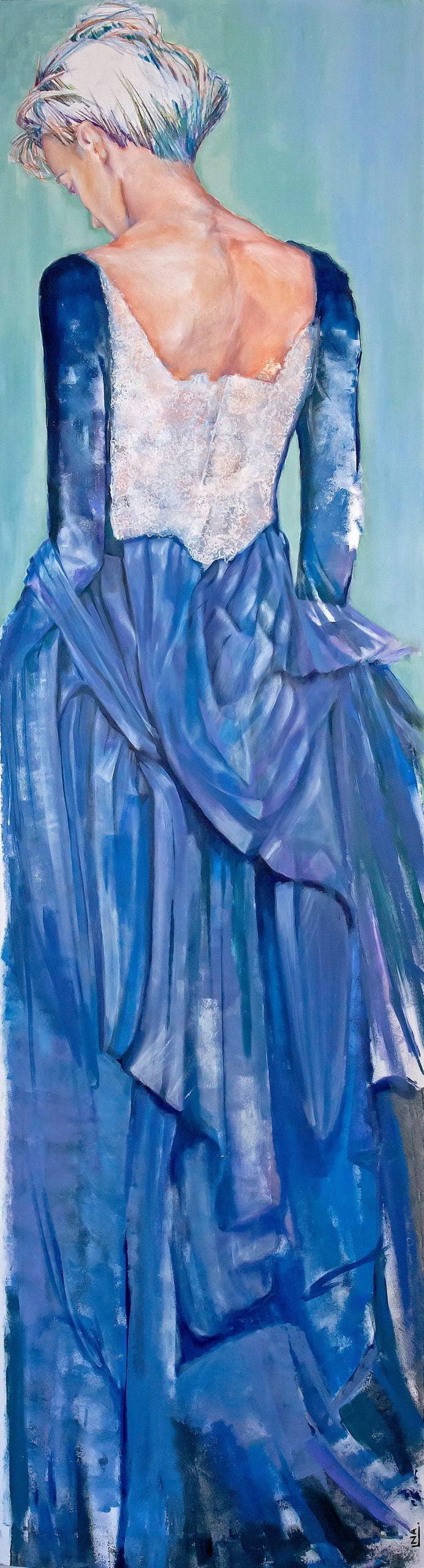 Nanou Autin, Peinture, Olympia, Acrylique, pastels, crayon sur toile marouflée, support bois cintré (piétement tubulaire acier ou platine accroche murale), 60×220 cm – 2016