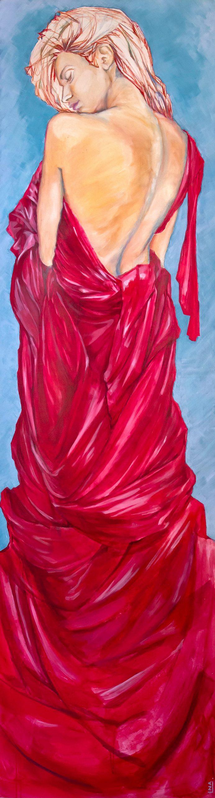 Nanou Autin, Peinture, Carmen, Acrylique, pastels, crayon sur toile marouflée, support bois cintré (piétement tubulaire acier ou platine accroche murale), 60×220 cm – 2016