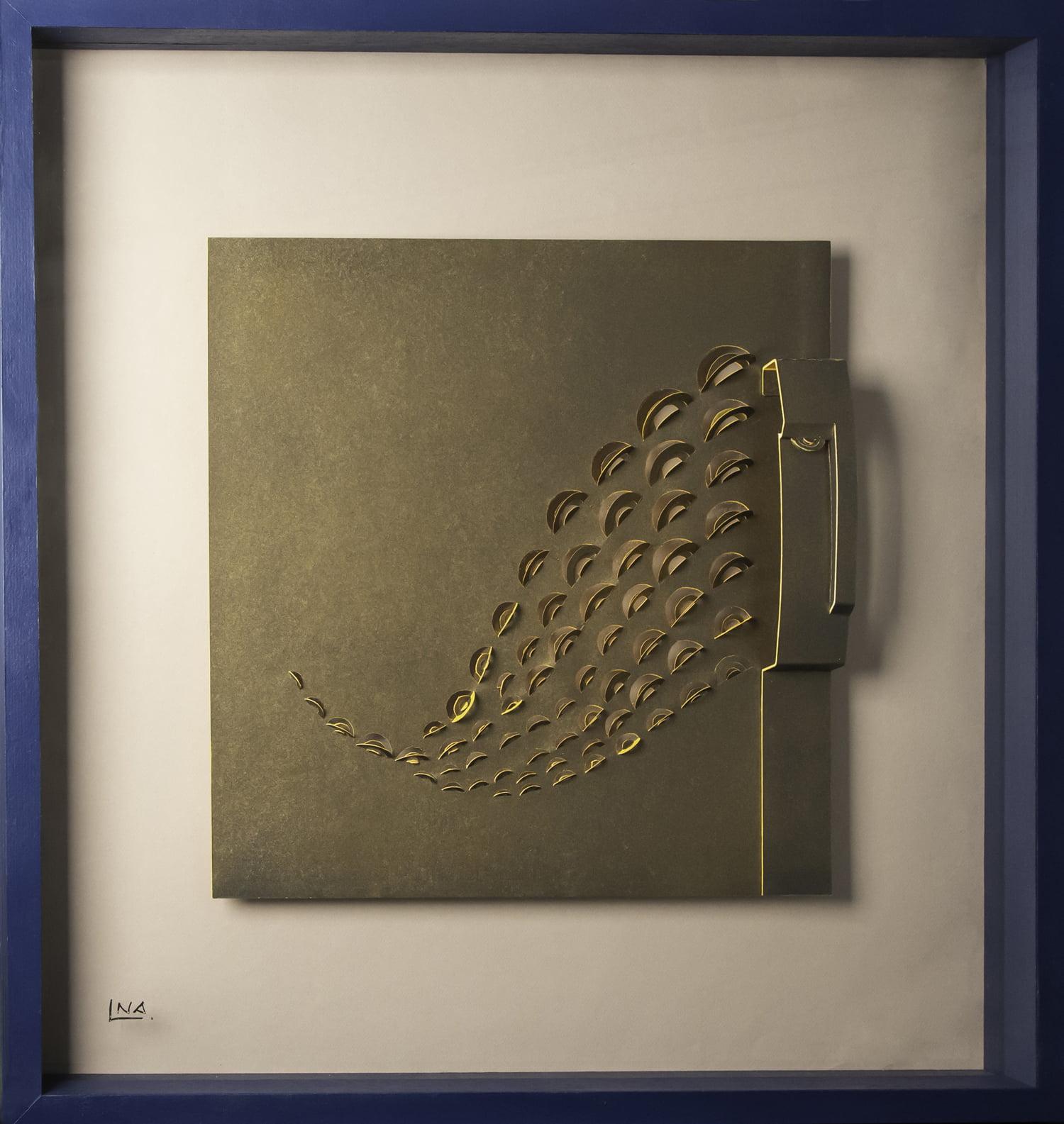 Nanou Autin, Volumes, L'Africaine, Papier découpé, acrylique, verre 75x75 cm - 2018