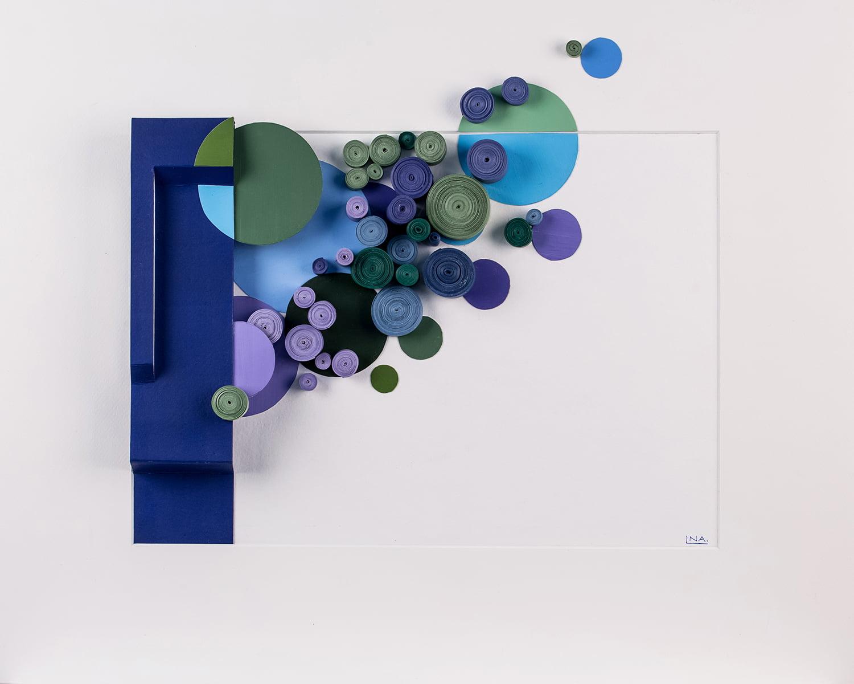 Nanou Autin, Volumes, Aquatique, Papiers enroulés, acrylique 45 X 55 cm - 2018