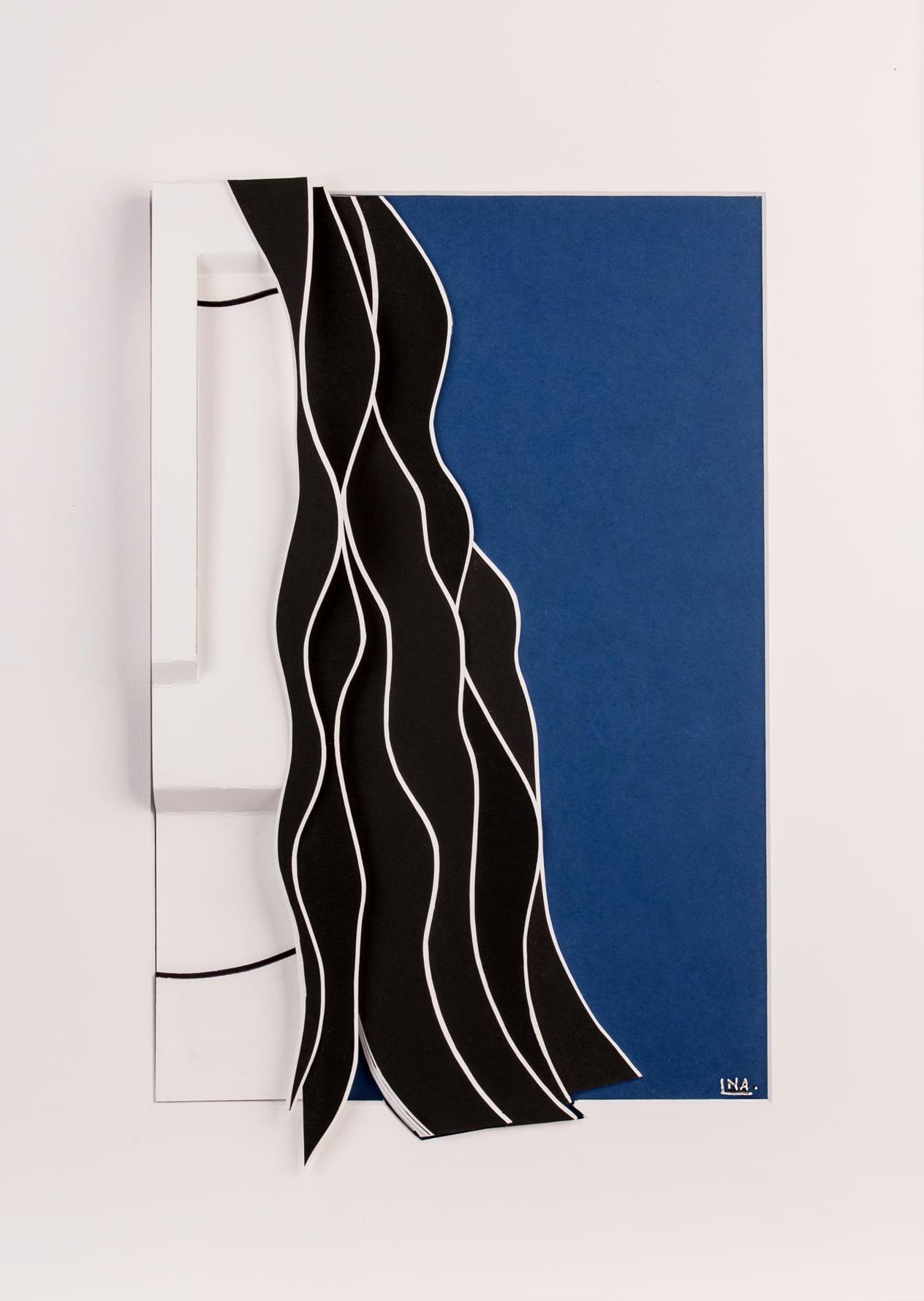 Nanou Autin, Volumes, Angela, Papiers pliés, encre de chine 35 X 24cm - 2015