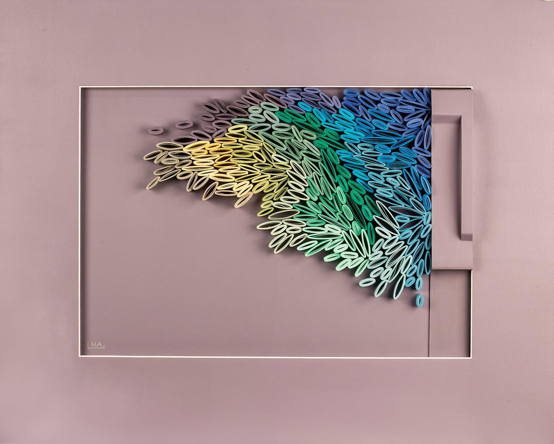 Nanou Autin, Volumes, Boréale Bleue, Papiers pliés, enroulés et acrylique 55 X 70 cm  - 2018