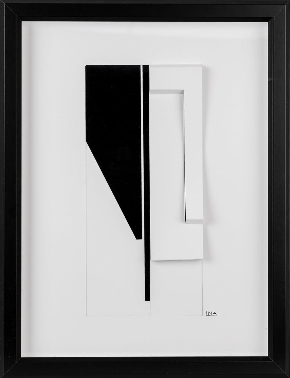 Nanou Autin, Volumes, COLOMBA Papiers pliés, encre de chine 35 X 24cm - 2015