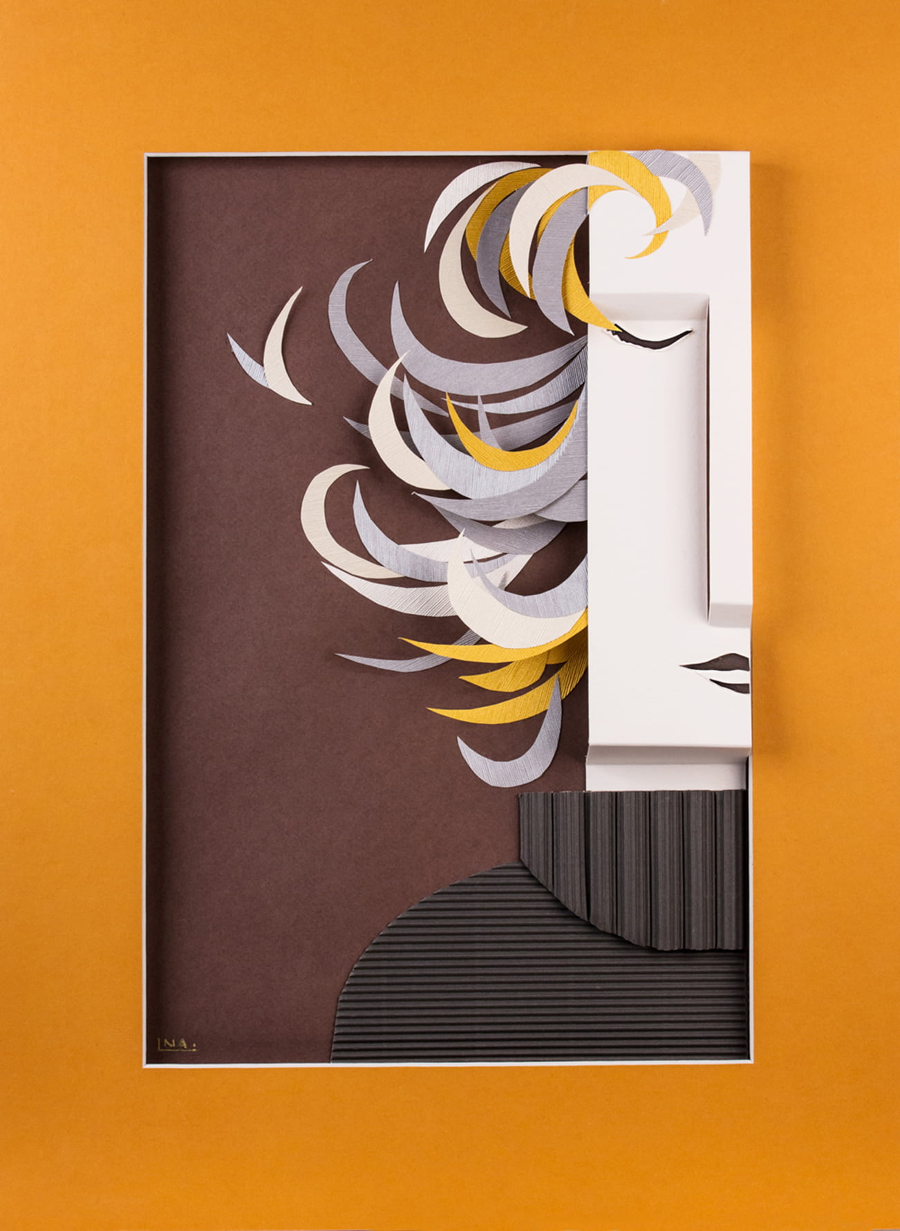 Nanou Autin, Volumes, Indira, Papiers pliés, encre de chine 35 X 24cm - 2015