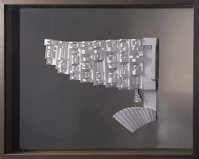Nanou Autin, Volumes, L'Infante, Papier plié, miroir bronze  62x83 cm - 2018