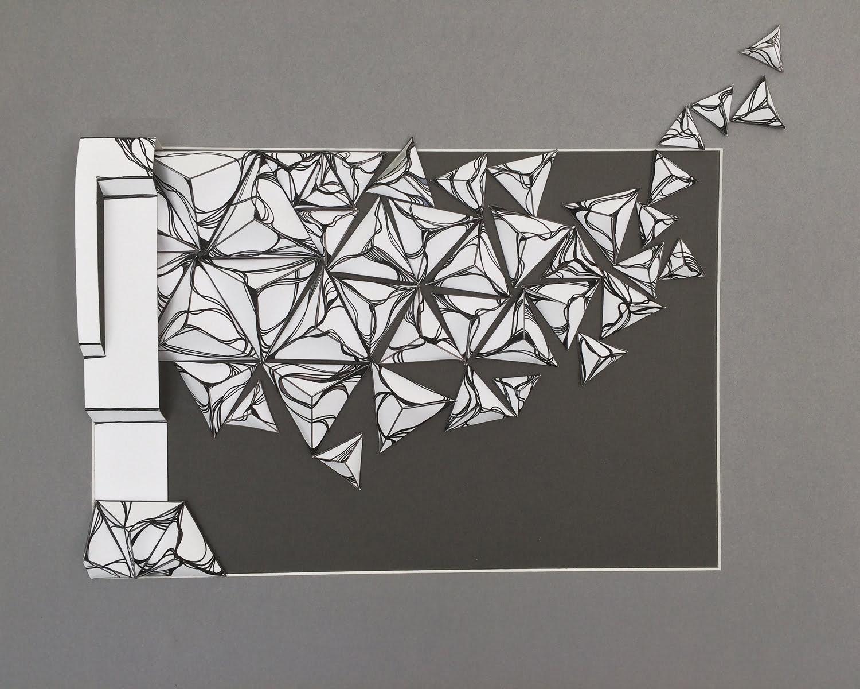 Nanou Autin, Volumes, Boréale Rose, Papiers pliés, Papier couché, encre  50x70 cm - 2018