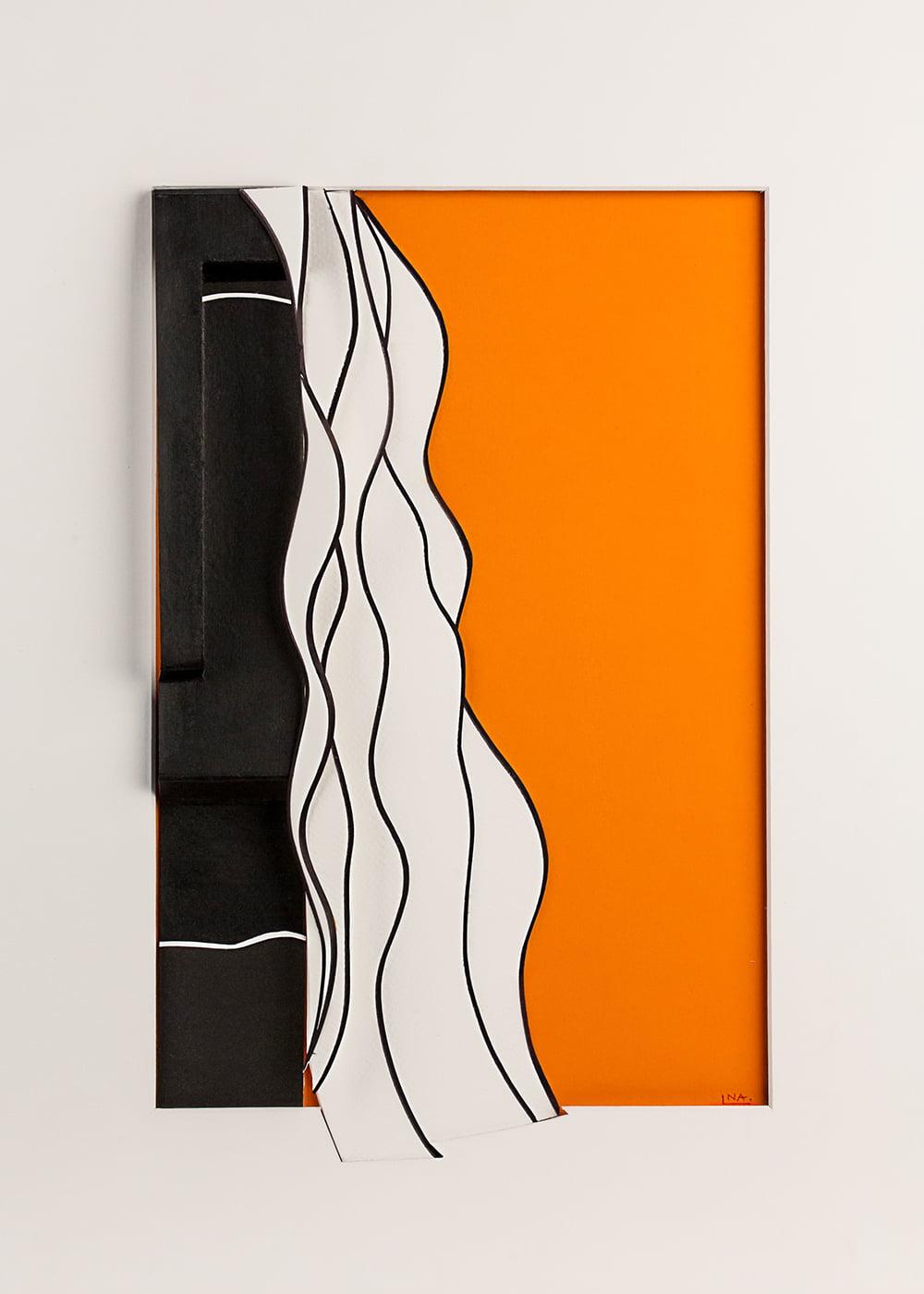 Nanou Autin, Volumes, Orange, Papiers pliés, encre de chine 35 X 24cm - 2015
