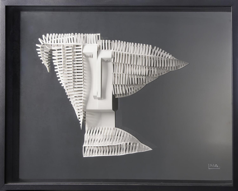 Nanou Autin, Volumes, Orphée et Eurydice, Papier plié, miroir gris  64x83 cm - 2018