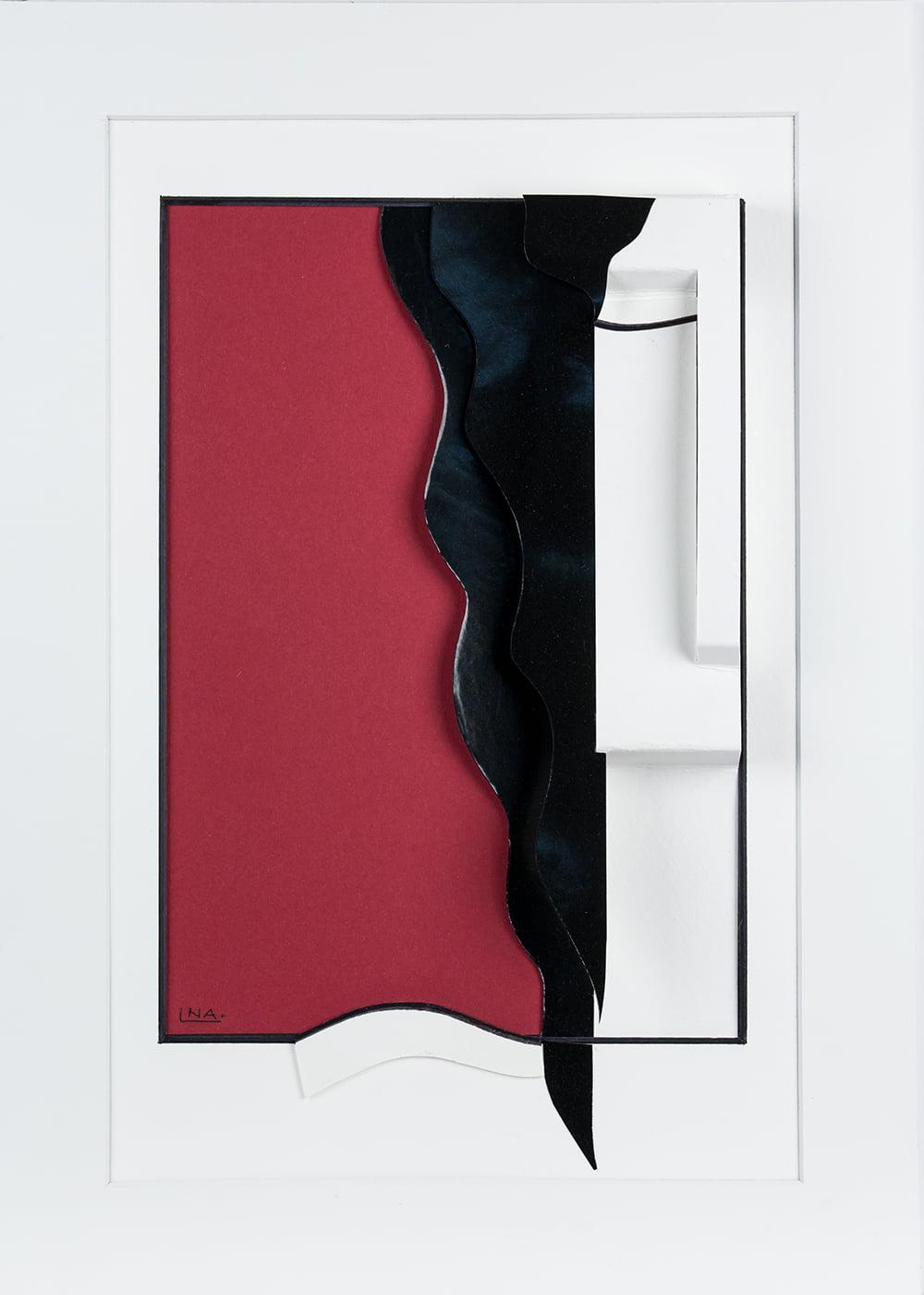 Nanou Autin, Volumes, Rouge, Papiers pliés, encre de chine 35 X 24cm - 2015