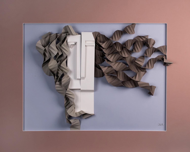 Nanou Autin, Volumes, Boréale Rose, Papier mi–teinte plié  60x80 cm - 2018