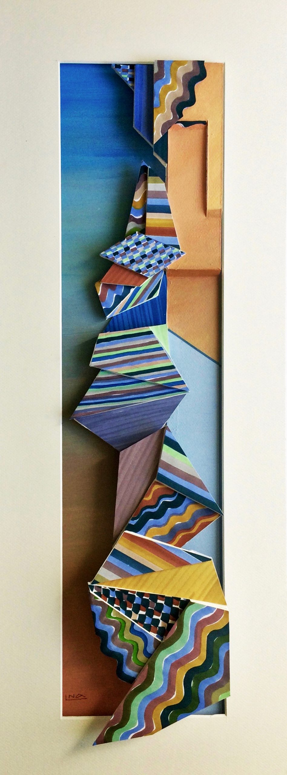 Nanou Autin, Volumes, Mediterranée, Papier contre-collé, feutre et acrylique 29 x 75 cm – 2019