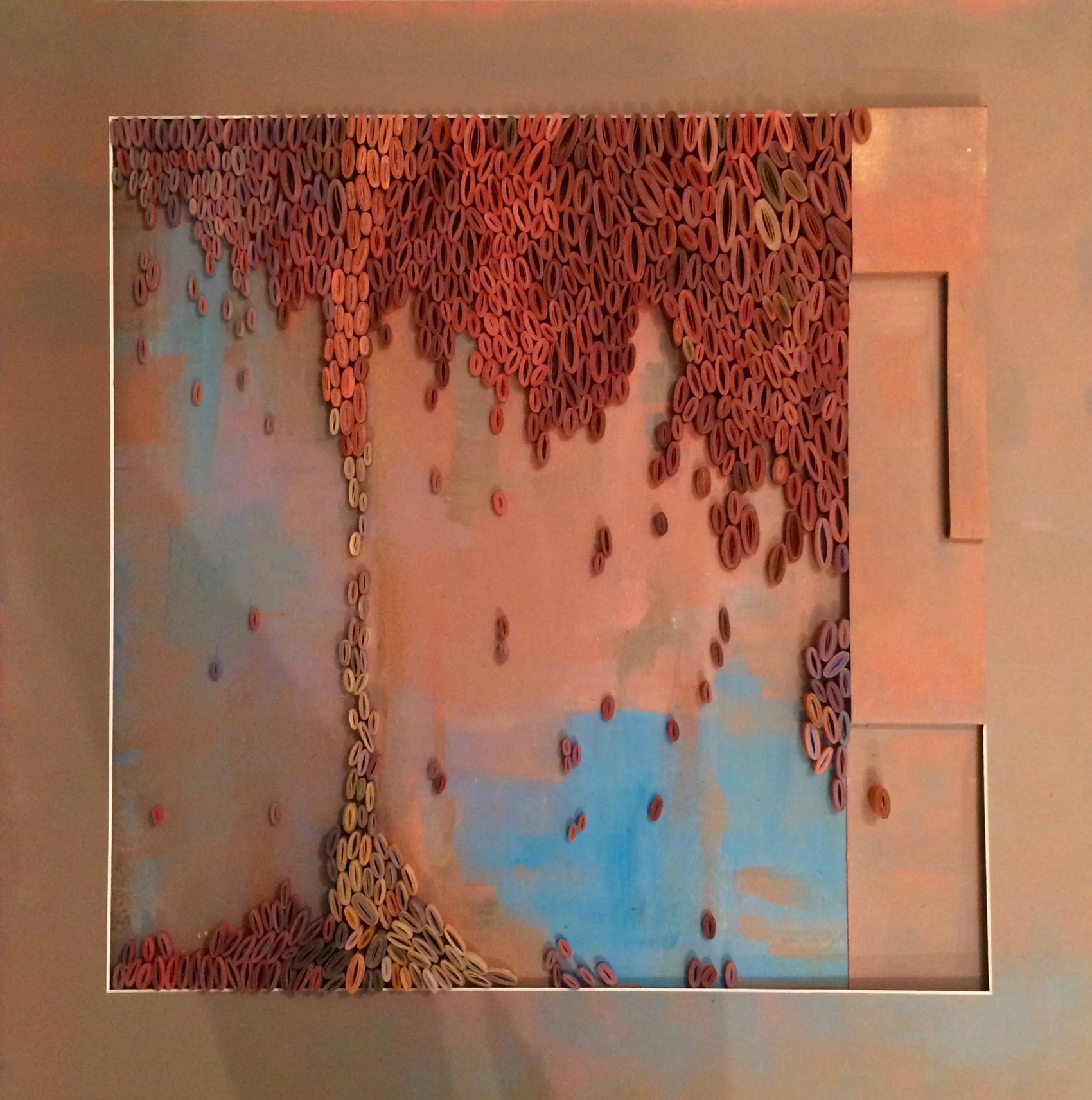 Nanou Autin, Volumes, Migration, Papier plié, enroulé, acrylique 75,5x75,5 cm – 2020