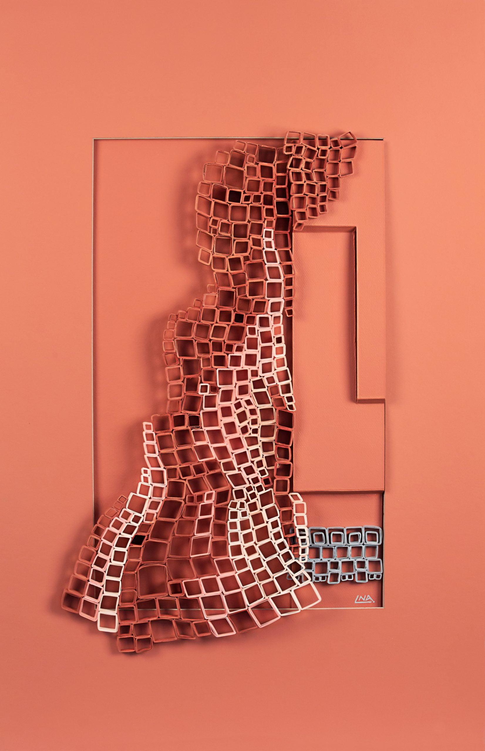 Nanou Autin, Volumes, Résille, Papier plié, acrylique 58x88 cm – 2019