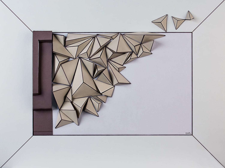 Nanou Autin, Volumes, Tri-dimension, Papier mi - teinte, encre, acrylique 48 X 55 cm - 2018